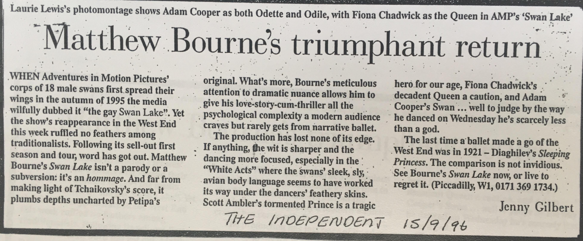 A press cutting from 15 September 1996 titled 'Matthew Bourne's triumphant return'