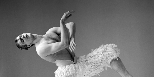 A 1995 black and white studio shot of Adam Cooper as The Swan