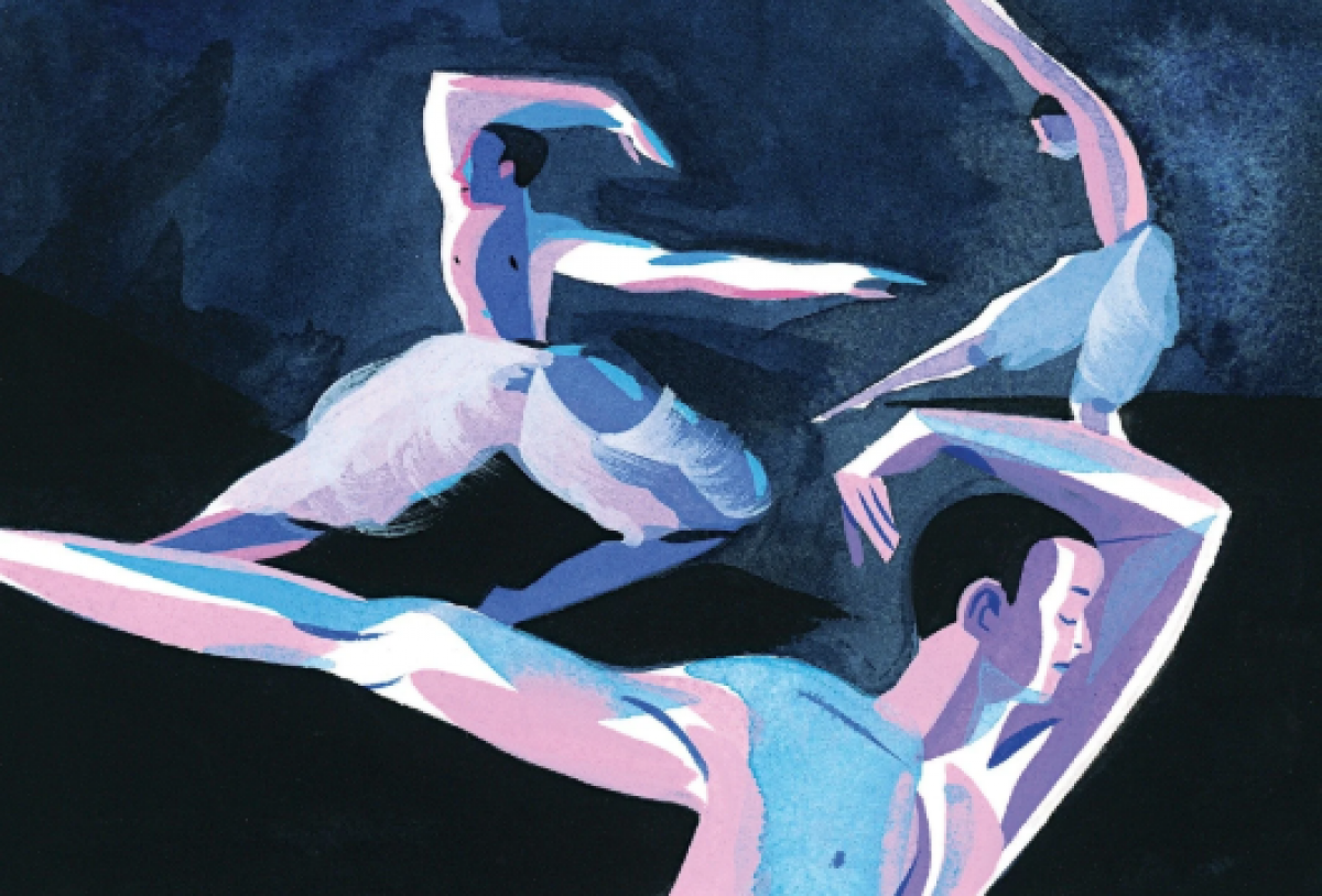 llustration of The Swans in Matthew Bourne's Swan Lake