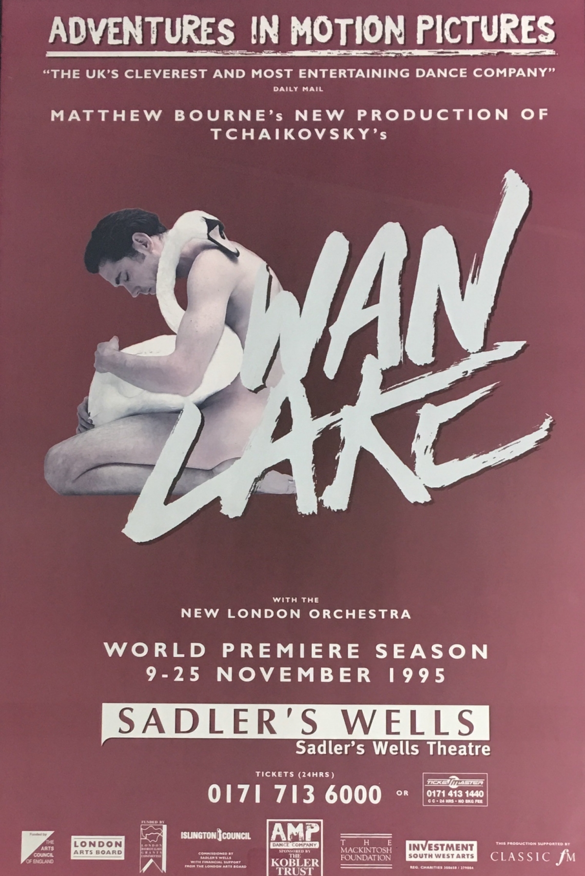 An image of the original Swan Lake show poster from 1995