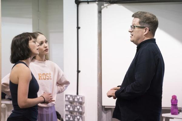 Matthew Bourne talking to Cordelia Braithwaite and Ashley Shaw, who play Cinderella