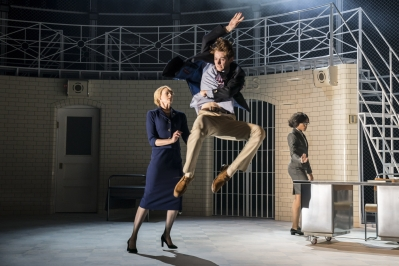 Romeo (Paris Fitzpatrick), Brie Montague (Daisy May Kemp) and Governor Escalus (Monique Jonas) - Capulet Company