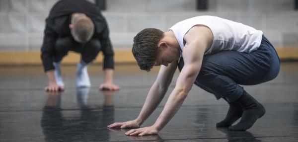 Young men dancing in a studio
