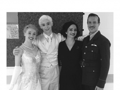 From left to right: Cordelia Braithwaite (Cinderella), Paris Fitzpatrick (The Angel), Anjali Mehra (Sybil, The Stepmother) and Edwin Ray (Harry, The Pilot)