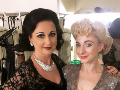 Madelaine Brennan (Sybil, The Stepmother) and Sophia Hurdley (Irene) backstage