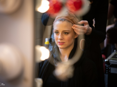Carrie Willis backstage with Swan Lake
