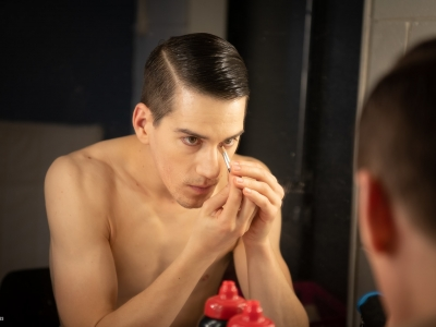 Dominic North getting ready backstage for Swan Lake