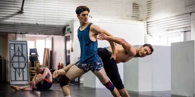 Dominic North as The Prince, Max Westwell as The Swan in rehearsals for Matthew Bourne's Swan Lake