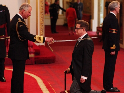 Matthew Bourne being Knighted by Prince Charles