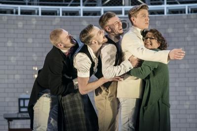 Balthasar (Asher Rosenheim), Mercutio (Ben Brown), Benvolio (Joao Carolino), Romeo (Andrew Monaghan) and Rev Bernadette Laurence (Madelaine Brennan) - Montague Company