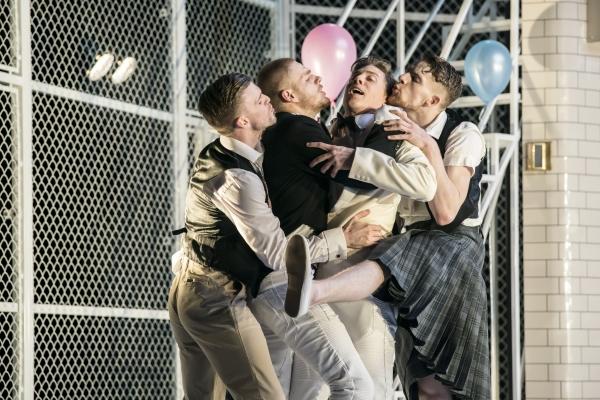 Benvolio (Joao Carolino), Balthasar (Asher Rosenheim), Romeo (Andrew Monaghan) and Mercutio (Ben Brown) - Montague Company