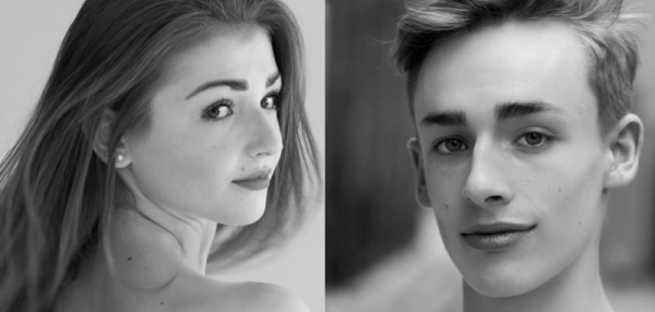 Two images of a young female and male in black and white