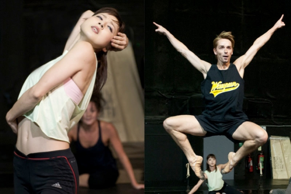 Two photographs of a female and male dancer in rehearsals