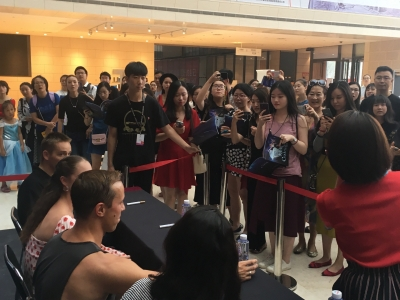 Signing autographs at Tianqiao Performing Arts Centre