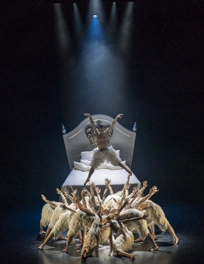 The Swan (Will Bozier) & the ensemble in Matthew Bourne's Swan Lake