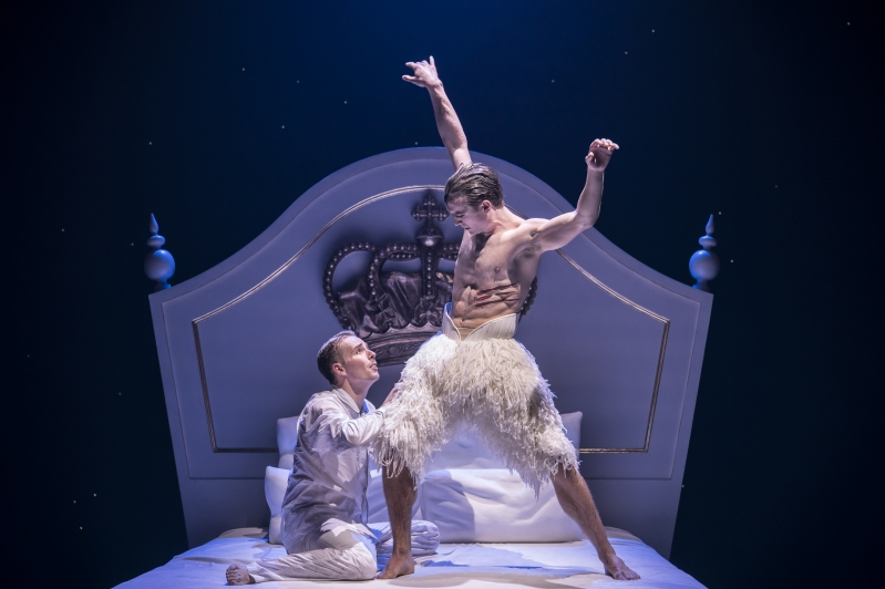 The Prince (Liam Mower) and The Swan (Matthew Ball) in Matthew Bourne's Swan Lake