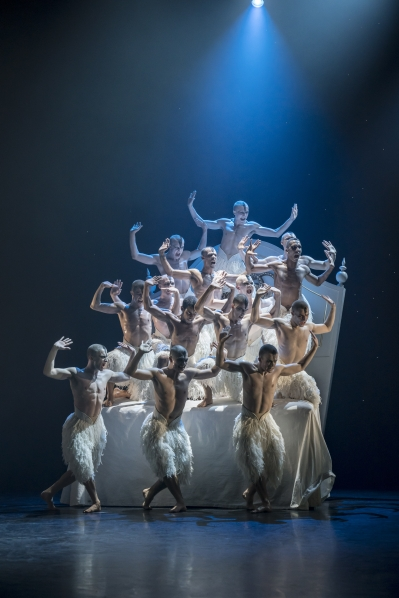 The Swans on the bed in Act Four in Matthew Bourne's Swan Lake