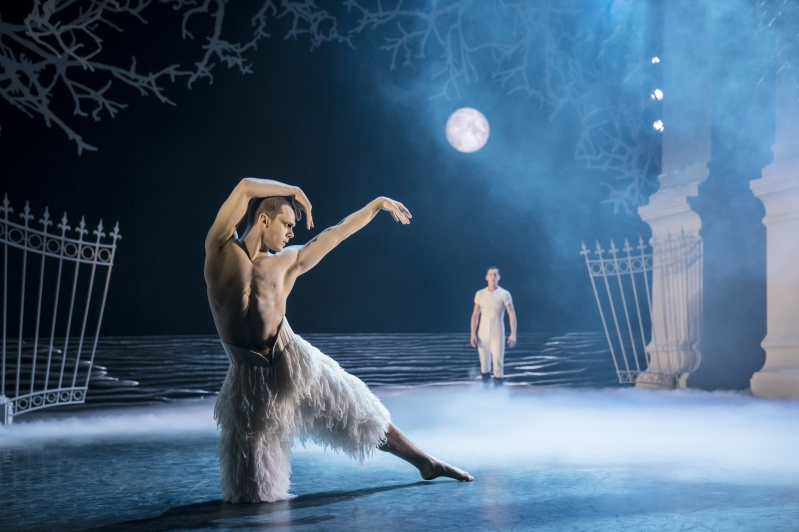 The Swan (Will Bozier) and The Prince (Dominic North) in Matthew Bourne's Swan Lake