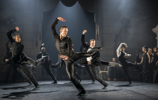 The Stranger (Will Bozier) and Escorts at The Royal Ball in Matthew Bourne's Swan Lake
