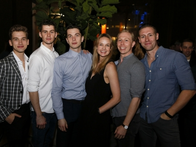 From Left to Right: Jackson Fisch, Matthew Petty, Reece Causton, Daisy May Kemp, Danny Reubens and Dan Wright at Cinderella Opening Night in LA