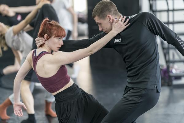 Cordelia Braithwaite with Callum Bowman in rehearsals for Romeo and Juliet