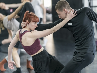 Cordelia Braithwaite with Callum Bowman in rehearsals for Romeo and Juliet