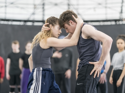 Bryony Harrison and Chris Thomas in rehearsals for Romeo and Juliet